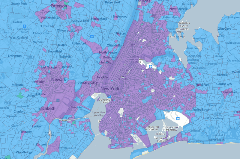 New York neighborhood level urbanization classification